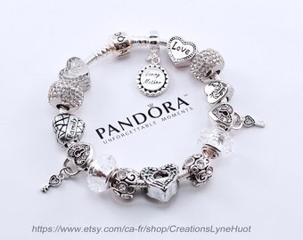 528e55fbe Guenine PANDORA Bracelet Sterling silver 925 with all the beads -OR-select  European stainless steel bracelet with all the charms-