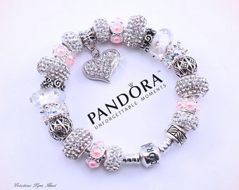 Authentic PANDORA Bracelet Sterling Silver With Charms And Gift Box