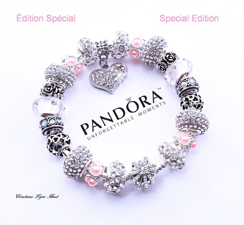 e03daf839a85 Special Edition- Beautiful 925 Sterling Silver Rigid PANDORA Bracelet 19cm  (7,5'') with Charms and Gift Box - Gift for Mom at Christmas -