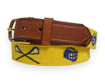 Lacrosse-Blue and Yellow Hand Needlepoint Men's Belts