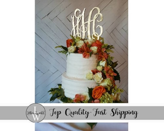 Monogram Cake Topper Gold Wedding Cake Topper Bride S Etsy