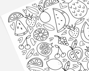 Fruit Coloring Page Etsy