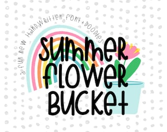 Summer Flower Bucket Font Duo Letters Numbers Symbols Summer Sticker Overlays Cute Quirky Handwritten Fonts Ttf File Hand Drawn Typography Fonts
