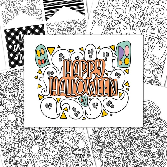 Halloween Coloring  5 Pack Hand-Drawn Fall Creative Play