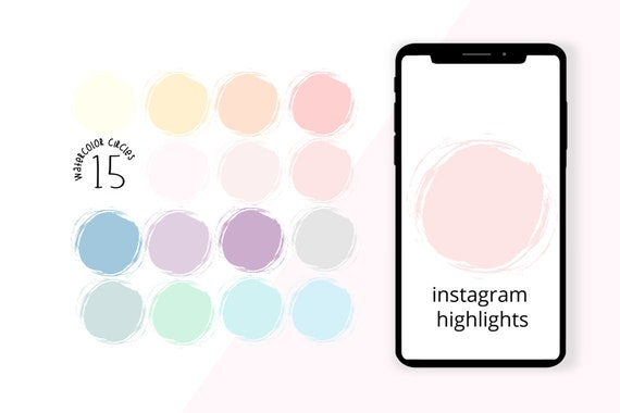 Pastel Watercolor Circle Icon Stickers Instagram Highlights Etsy