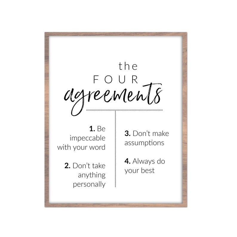 photograph regarding The Four Agreements Printable referred to as The 4 Agreements Typography Artwork Printable