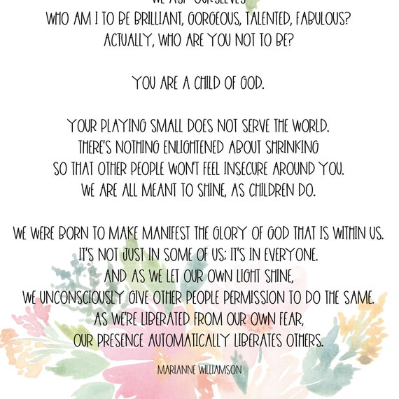 Our Deepest Fear Full Poem   Watercolor Farmhouse Floral Digital Printable