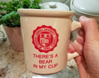 """Vintage Cornell University coffee mug """"There's a bear in my cup"""" with college seal crest"""