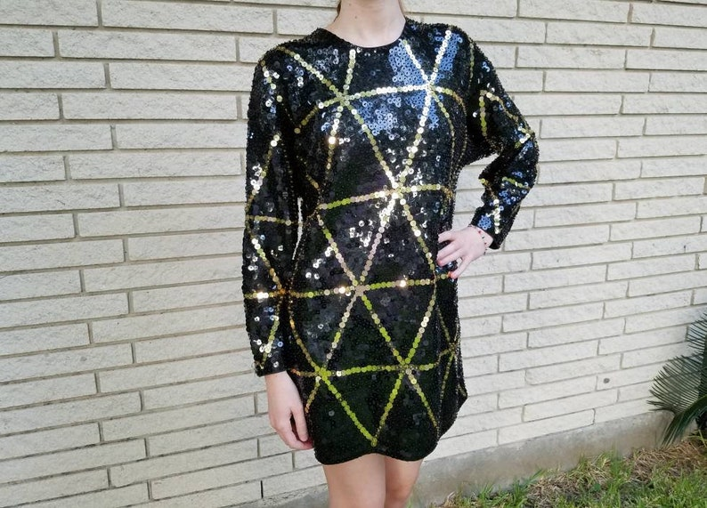 5a61544c85 Vintage Glam black and gold sequined Mini dress or top with