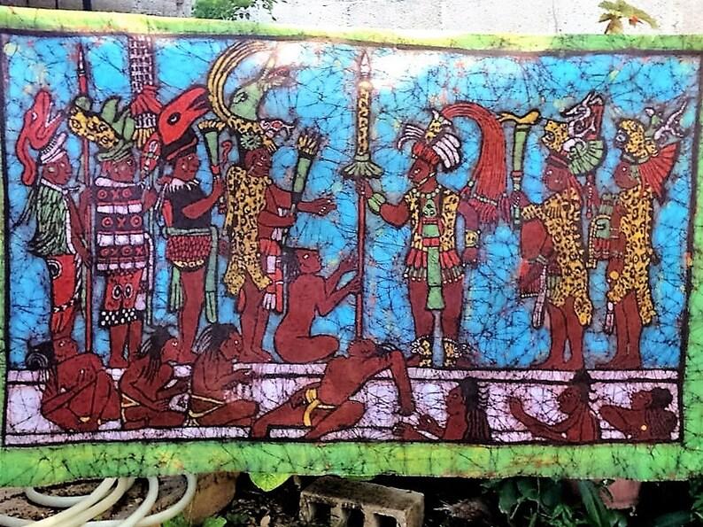 Batik Of A Scene From The Murals Of Bonampak Chiapas Mexico Etsy