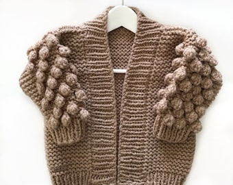 4642a242a1f907 The Bobble Cardi Pattern Kids  Childrens bobble sweater pattern  Hand knit  bobble cardigan chunky oversized kids bobble cardi  bobble sleeve