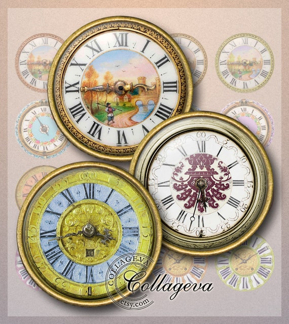 Colorful Watches Digital Collage Sheet
