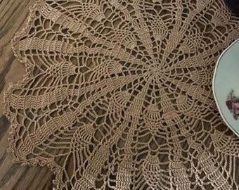 "Doily, Camel thread, Handmade, Crochet Doily, 15"" Doily with pineapples"