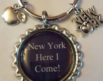 New York Trip Big Apple Announcement Keychain Daughter Gift Girlfriend Surprise Birthday