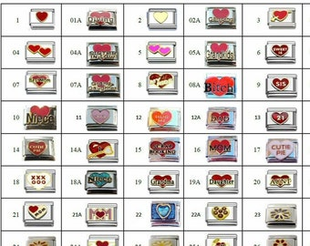 Italian Charm Your Choice - Charms Hearts Stars, Survivor, Mom, Army, Navy, Air Force, Marines  Choose from all Listings  #1