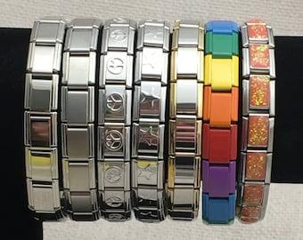 Italian Charm Starter Bracelets 18 Links each Bracelet 9mm Size Colored, Silver, Gold, Rainbow, Black, Green, Pink, Purple, Blue, Yellow
