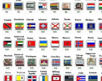 Italian Charm Flags Your Choice - (PLEASE READ Order Directions in Description) USA, Mexico, France, Italy, Germany, Plus or Custom Made