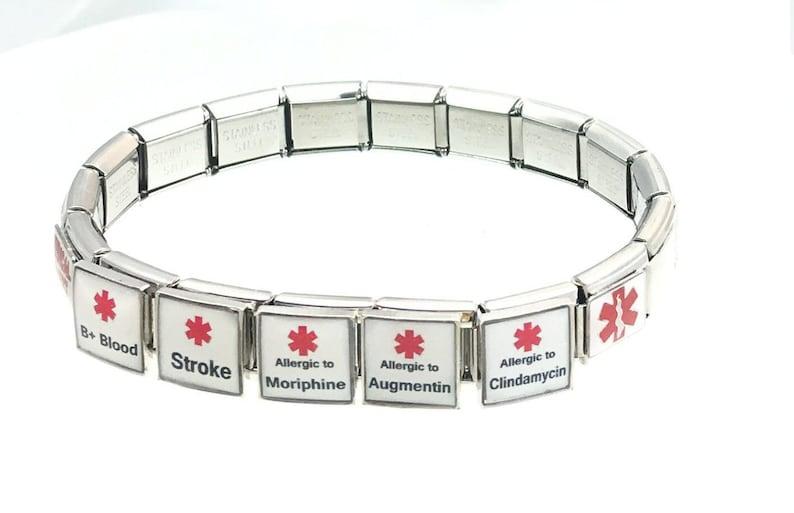 Medical Alert Italian Charm Bracelet Any Allergy or medical Alert Penicillin Epilepsy Diabetes Asthma Nuts Peanuts