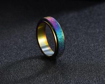 Anxiety Fidget Spinner Ring - Meditation Strength Energy Grounding Sizes 6-13 Rainbow
