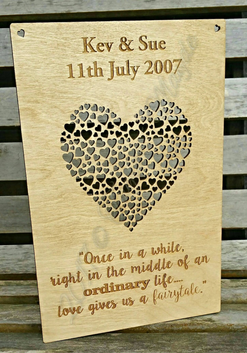 new home birthday wedding, Message hanging plaque personalised wooden anniversary new baby unique gift bespoke present