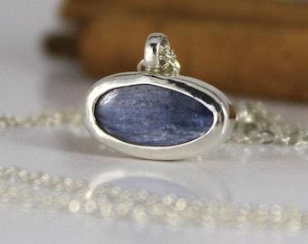 Blue gemstone necklace, Blue Kyanite necklace, Blue pendant, Blue stone necklace, Blue kyanite jewelry, Blue necklace, Birthstone jewelry