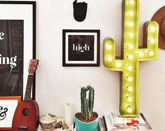 """Cactus Marquee 36"""", Cactus Wall Decor, Light Up Cactus"""