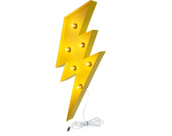 Lightning Bolt Marquee, Light Up Sign, Yellow