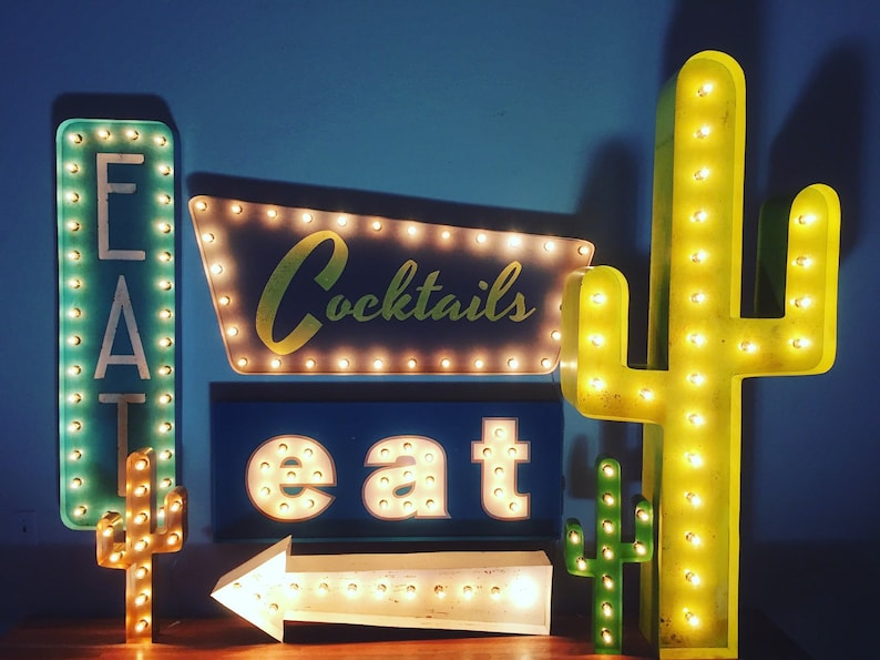 Cocktails Marquee Sign Light Up Sign   Etsy