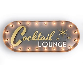 Cocktail Marquee Sign, Customizable Light Up Sign