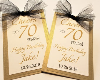 Personalized 70th Birthday Wine Bottle Favor Tag Cheers To 70 Years Champagne Adult Tags Black And Gold