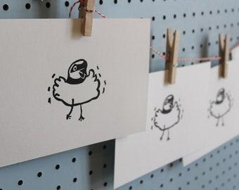 Dansende vogel oorspronkelijke Linoleum blok Print