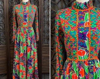 d77a8e35bcaad8 Vintage The Lilly Dress, 60s Maxi Dress by Lilly Pulitzer, Colorful  Psychedelic Tulip Print Dress, Size Extra Small to Small