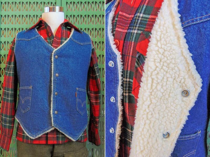 1970s Mens Shirt Styles – Vintage 70s Shirts for Guys Vintage Denim Levis Vest Shearling Faux Sheepskin Orange Tab Levis Western Wear Mens Large $0.00 AT vintagedancer.com