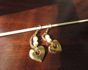 Upcycled Vintage Gold Heart and Faux Pearl Earrings, on gold-plated ear wires; one of a kind, assemblage, dangle earrings