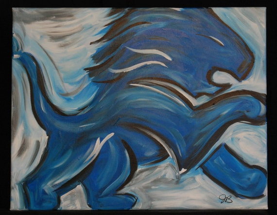 Detroit Lions Logo Abstract Painting