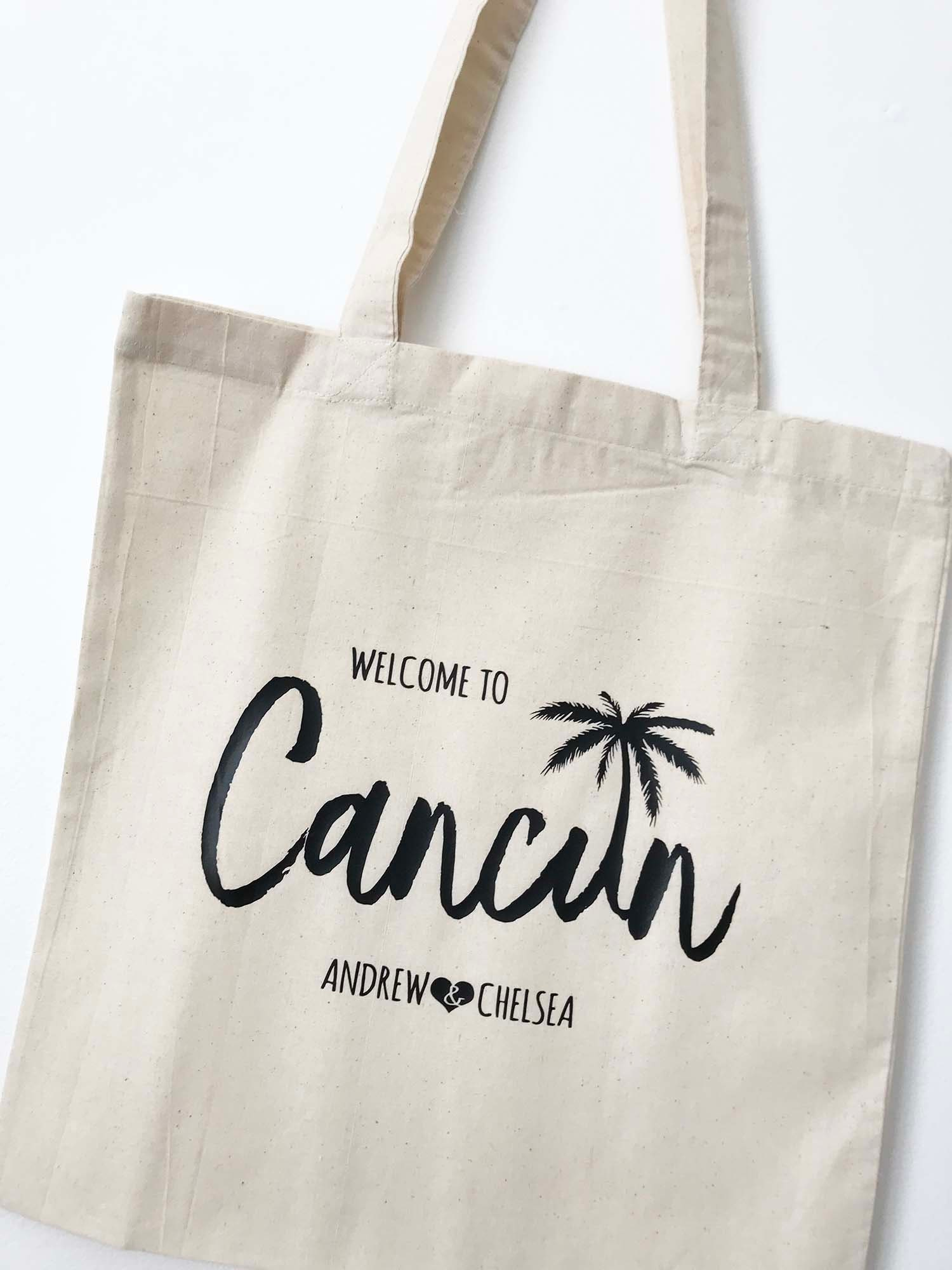 Cancun Tote Bag Destination Wedding personalized tote wedding welcome gift bag