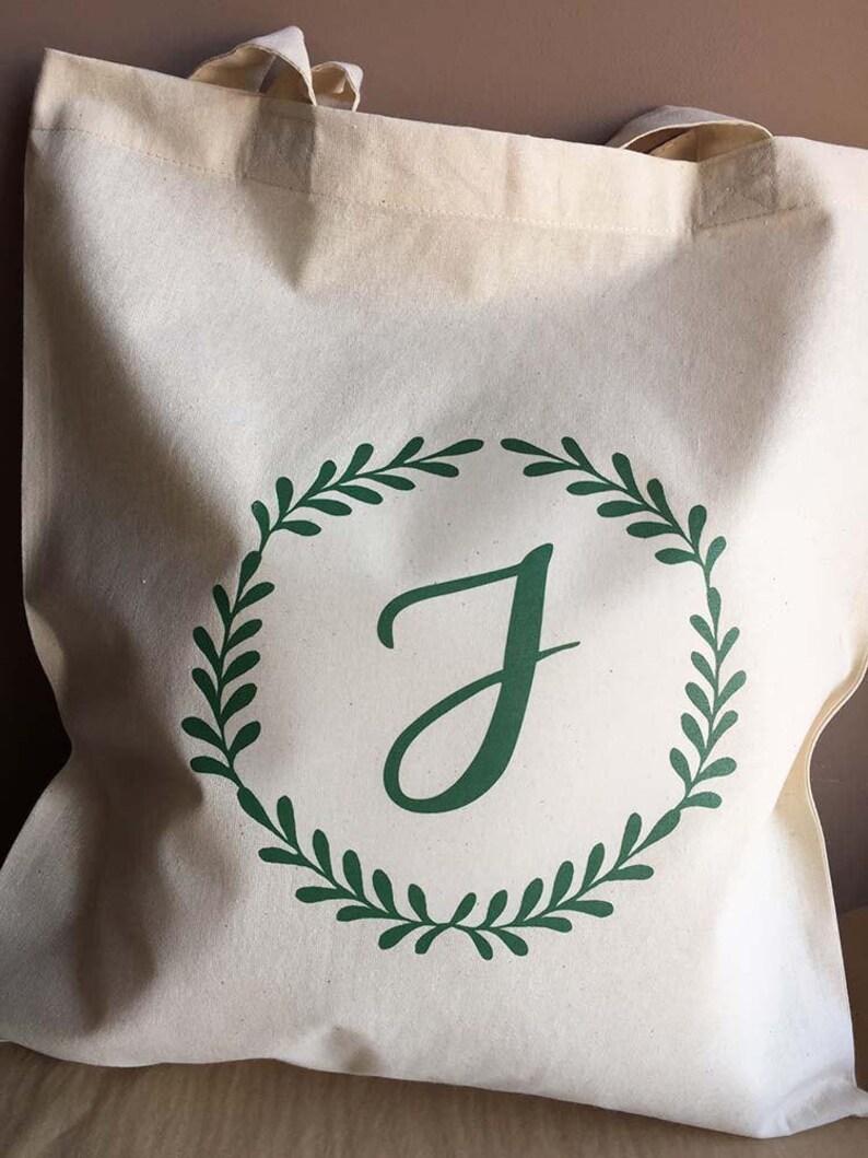 emerald laurel wreath wedding party gift bag monogram personalised tote Bridal Shower Bachelorette Tote