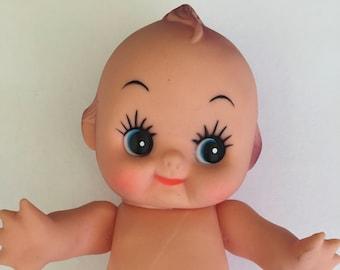 "Kewpie Doll Vintage 7"" Soft Plastic Rubber 1960s 1970s Cupie Blue Eyes Posable Cute"