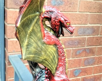 "Dragon Statue, Hand Painted Ceramic Dragon, Mythical Dragon, Dragon Figurine 16"" Tall - #561c"