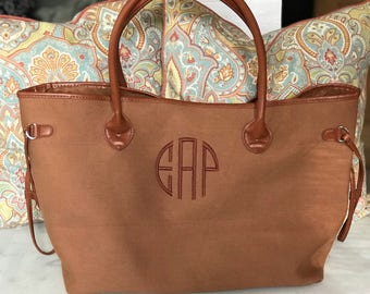 XL Tote - Monogrammed Tote Bag - Extra Large Tote - Weekend Bag - Overnight Bag - Canvas Tote Bag - Bag for Traveling - Graduation Gift