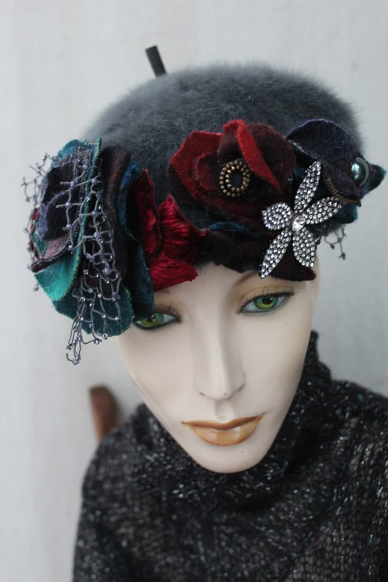hat,unique ready to ship, WINTER GARDEN BERET handmade artsy