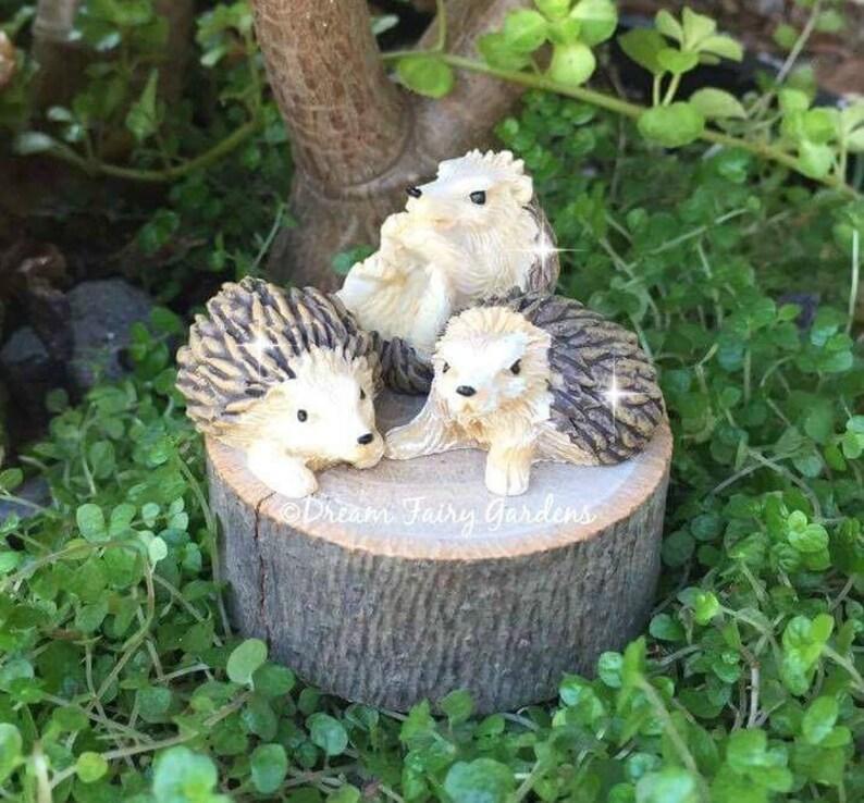 Set Von 3 Fee Garten Igel Miniatur Garten Igel Fee Garten Etsy