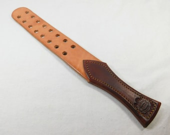 M 1 Leather Strap with Holes Med. Brown and Light Oil / Natural Mature Novelty