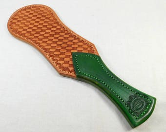 Turn Tail Rosey Green Handle with a Celtic Knot Basket Weave Pattern All Leather Mature Novelty