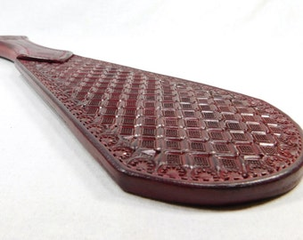 XP 5 Solid Burgundy Leather Paddle with a Diamond Pattern Mature Novelty