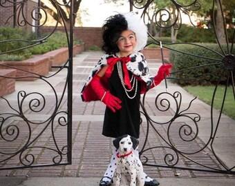 Cruella deville costume shrug shawl scarf cape adult and children's sizes cruela de vil