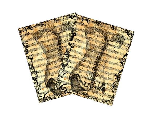 2e25bda79f4 Vintage Style Note Cards Corset Sheet Music Background Digital