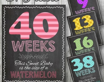 """Weekly Pregnancy Posters, 37 Patterned Posters Included! 8""""x10"""" & 11""""x14"""" included. Chalkboard Style, Weeks 5-41, DIGITAL PRINTABLE FILE"""