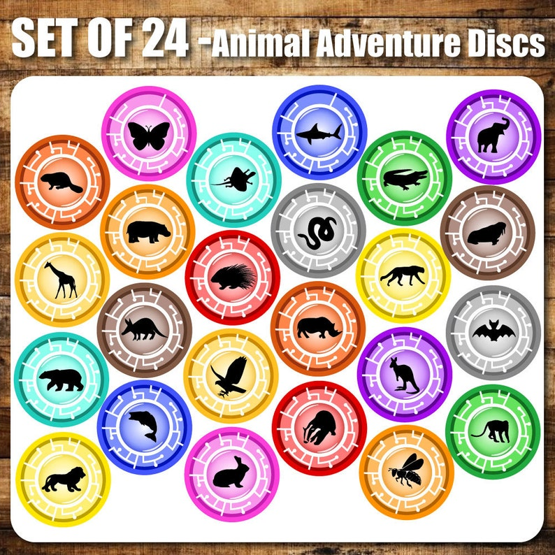 photo relating to Creature Power Discs Printable named 24 Preset Animal Experience Discs Influenced, 4\