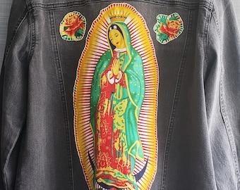 Virgen De Guadalupe Hand Stitched Black Washed Trucker Women's Denim Jacket.